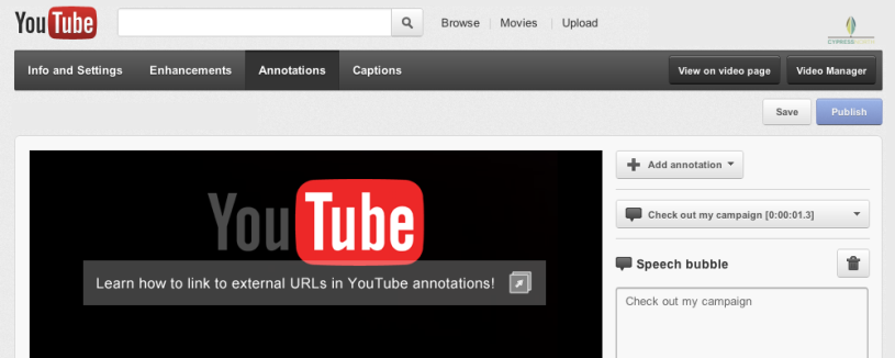 External links annotations youtube