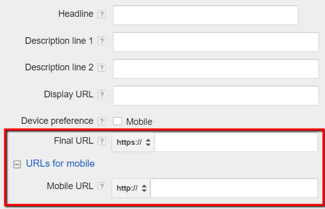 adwords mobile urls