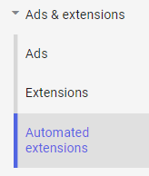screenshot of automated extensions tab
