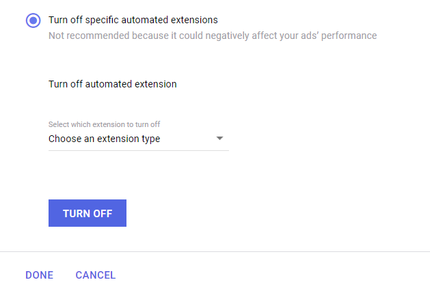 screenshot showing how to turn off automated extensions
