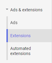 screenshot of extensions tab in Google Ads