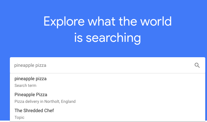 Pineapple pizza Google Trends search example