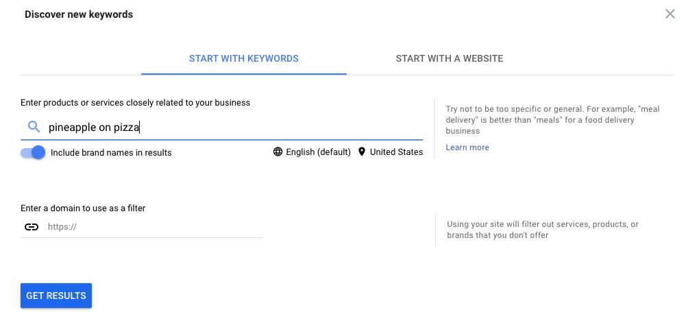 Google keyword planner screenshot