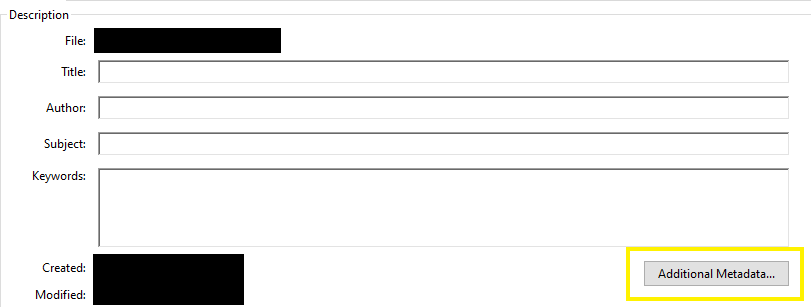 Document properties window in Adobe Acrobat Pro DC